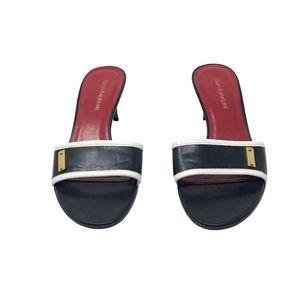 Enzo Angiolini Black & White Leather Mule Heels  7